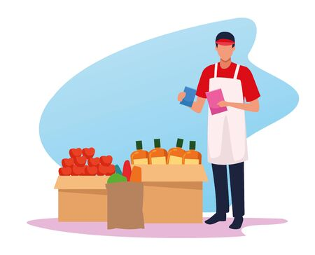 avatar supermarket worker and boxes with groceries, colorful design Vetores