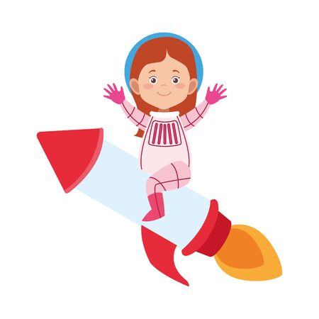 woman astronaut on space rocket icon over white background, vector illustration