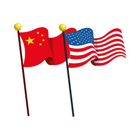 flags China and united states of america vector illustration design