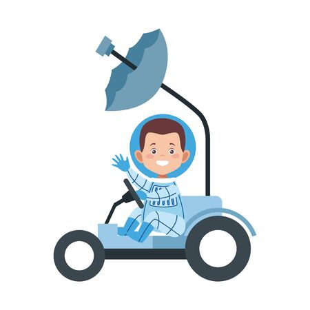 happy astronaut in a space car icon over white background, vector illustration Illustration