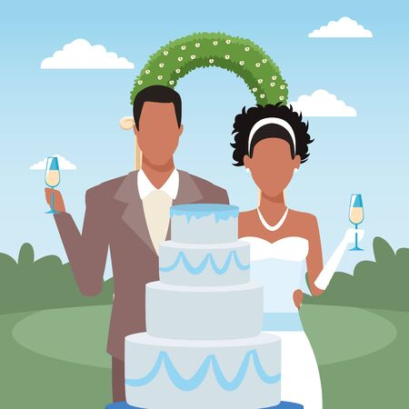 Wedding cake, just married couple and floral arch over landscape background, colorful design, vector illustration Archivio Fotografico - 136967264
