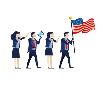 business people with united states american flag and megaphone vector illustration design 向量圖像