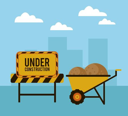 under construction scene with wheelbarrow vector illustration design