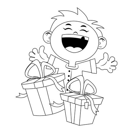 cartoon happy boy with gift boxes icon over white background, flat design, vector illustration