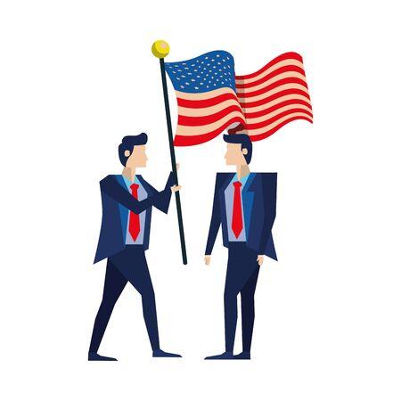 businessmen with united states american flag vector illustration design