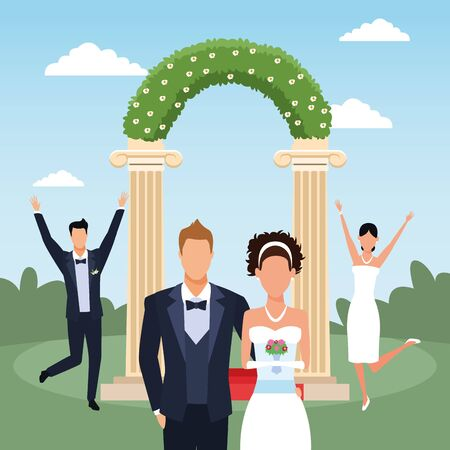 Floral arch with happy just married couples over landscape background, colorful design, vector illustration Illustration