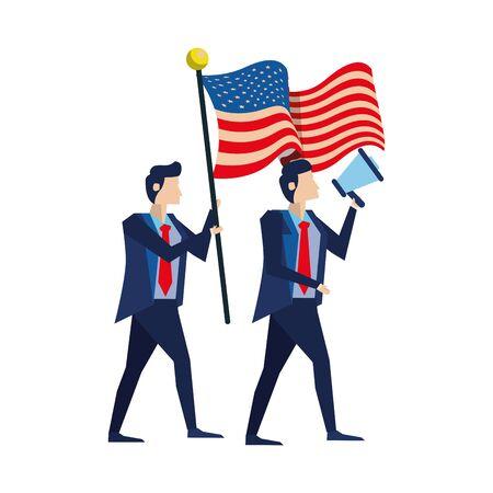 businessmen with united states american flag and megaphone vector illustration design
