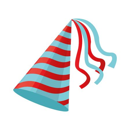 birthday hat icon over white background, colorful design, vector illustration
