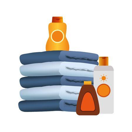Toallas con botellas de bronceadores sobre fondo blanco, diseño colorido, ilustración vectorial