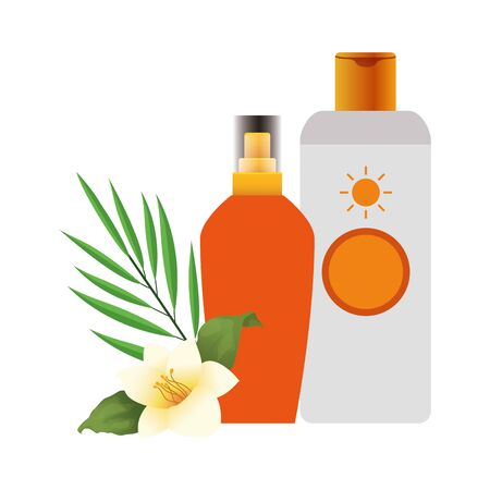 beautiful flower and leaf with sunscreens bottles over white background, vector illustration