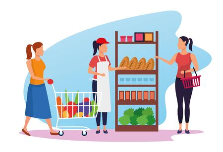 people on the supermarket and woman worker, colorful design , vector illustration Ilustração