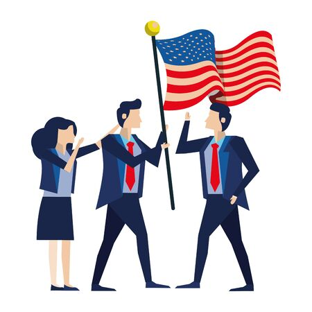 business people with united states american flag vector illustration design