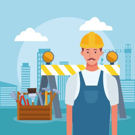cartoon repair man and tools box over urban city buildings background, colorful design , vector illustration