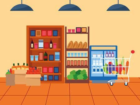 supermarket aisle with shelves with groceries and beverages fridge, colorful design , vector illustration Vetores