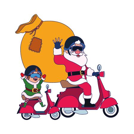 santa claus and christmas elf on a motorcycles with the bag of gifts over white background, vector illustration