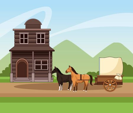 Western town design with horses carriage and wooden building over landscape background, colorful design, vector illustration