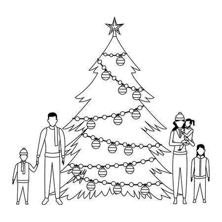 family with christmas tree decorated black and white vector illustration graphic design