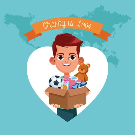 Kid donation charity cartoon ribbon banner and boy with toys in box vector illustration graphic design