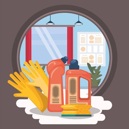 house room with housekeping equipment vector illustration design