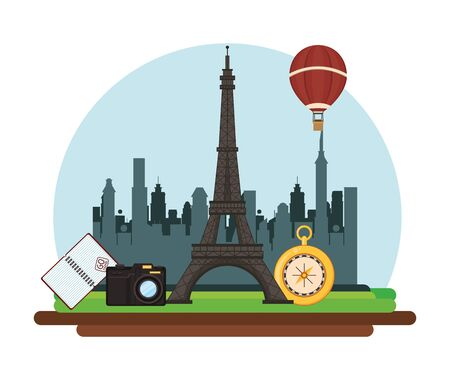world travel scene with eiffel tower vector illustration design  イラスト・ベクター素材
