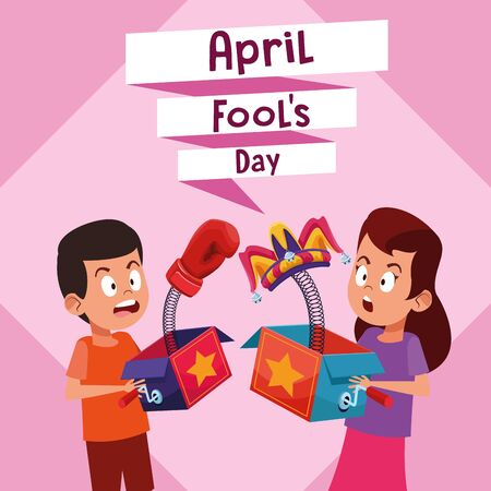 April fools boy and girl laughing cartoon vector illustration graphic design