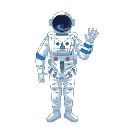 cartoon astronaut waving icon over white background, vector illustration