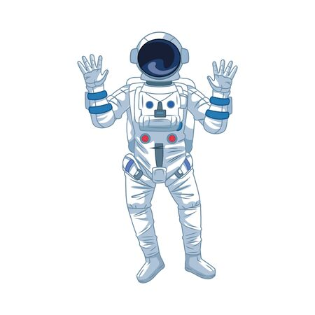 astronaut icon over white background, vector illustration