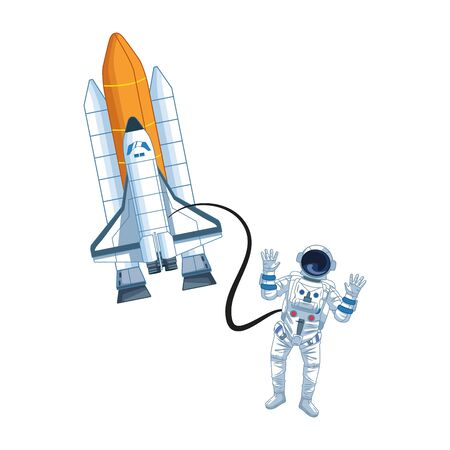 Astronaut flies with space shuttle icon over white background, vector illustration Illustration