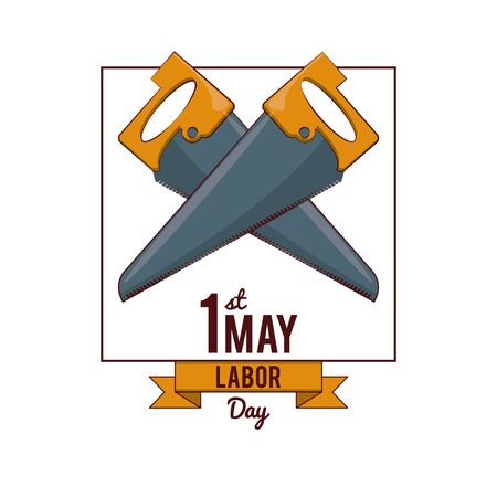 Labor day may eleven card with ribbon banner vector illustration graphic design