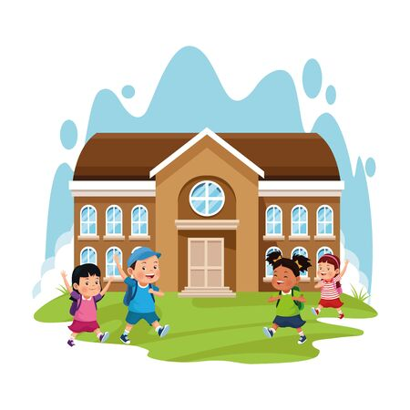 school building and happy kids over white background, colorful design , vector illustration