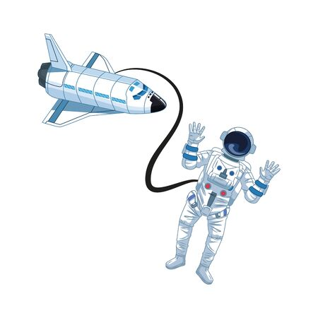 space rocket and astronaut icon over white background, vector illustration