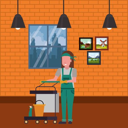 housekepping woman worker with clean equipment vector illustration design