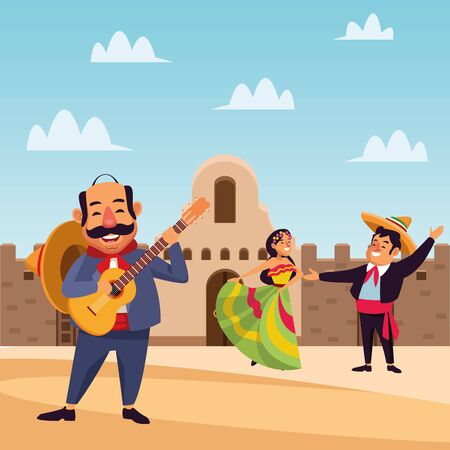 Mexican people design, Mexico culture tourism landmark latin and party theme Vector illustration 일러스트