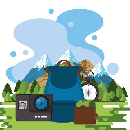 world travel scene with set icons in the landscape vector illustration design 일러스트