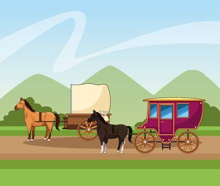 cavalli classici carrozza su sfondo paesaggistico, design colorato, illustrazione vettoriale