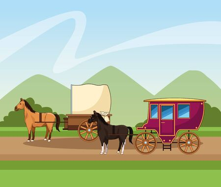 horses classics carriage over landscape background, colorful design, vector illustration