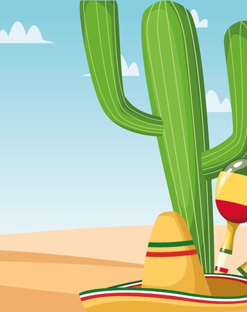 Mexican cactus hat and maracas design, Mexico culture tourism landmark latin and party theme Vector illustration 일러스트