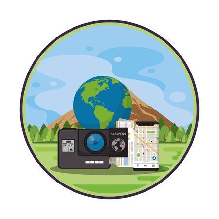 world travel scene with world planet in landscape vector illustration design