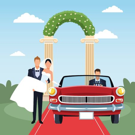 Groom holding bride in his arms and red classic car in just married scenery, colorful design, vector illustration