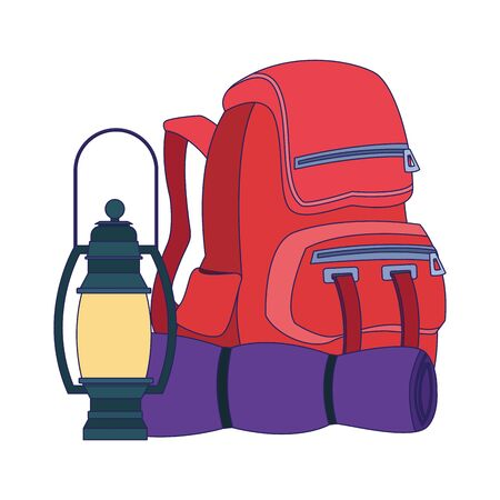 backpack with camping lantern and sleeping bag over white background, vector illustration
