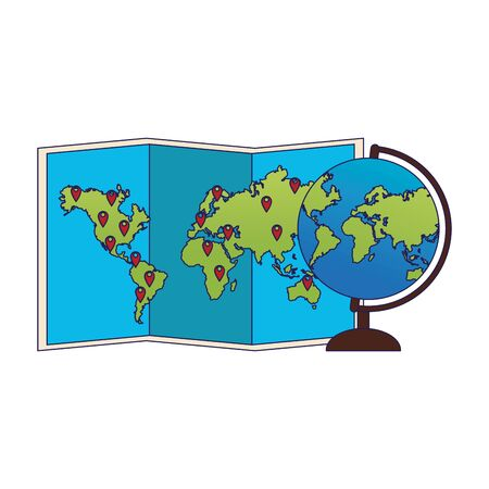 world map and globe icon over white background, vector illustration Stock Vector - 137092667