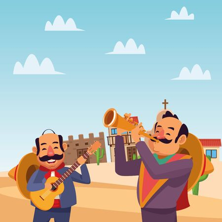Mexican men design, Mexico culture tourism landmark latin and party theme Vector illustration
