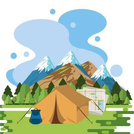 world travel scene with tent camping vector illustration design