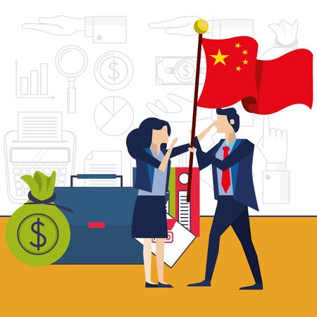 business couple with flag China characters vector illustration design