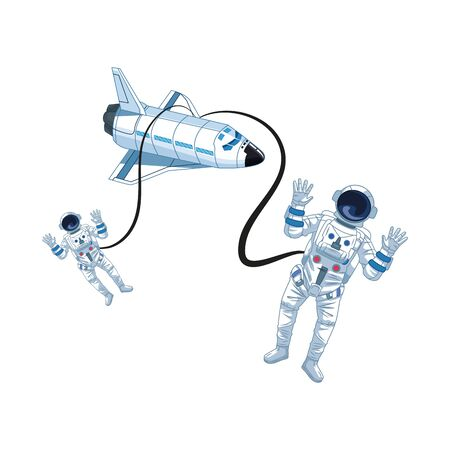 Astronauts flies with space shuttle icon over white background, vector illustration