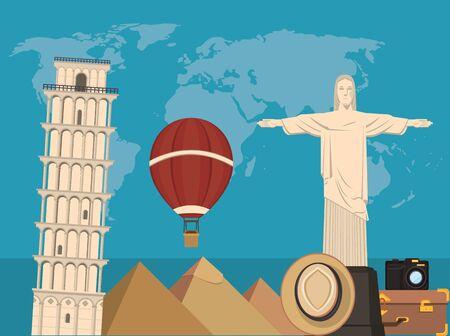 world travel scene with corcovade christ vector illustration design  イラスト・ベクター素材