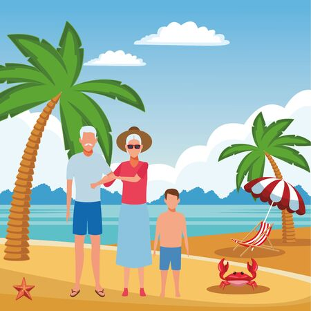 summer vacation family old couple at beach with grandchild cartoon vector illustration graphic design