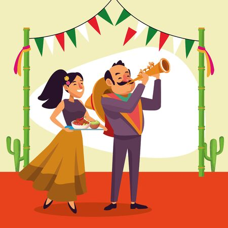 Mexican man and woman design, Mexico culture tourism landmark latin and party theme Vector illustration 일러스트
