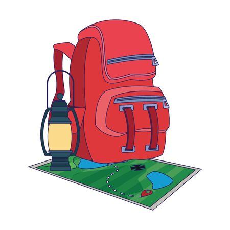 backpack with map and camping lantern over white background, vector illustration 일러스트