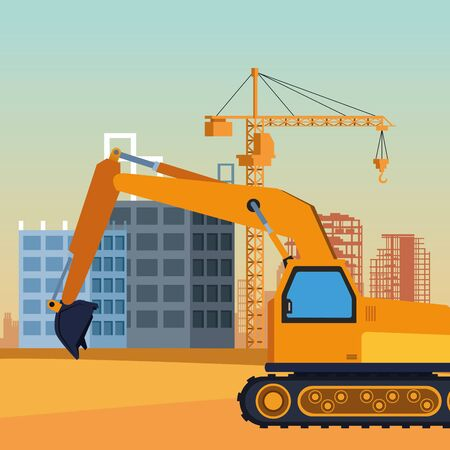 construction truck over under construction scenery, colorful design, vector illustration